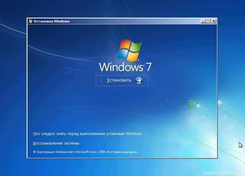 Установка Windows 7. Восстановление системы